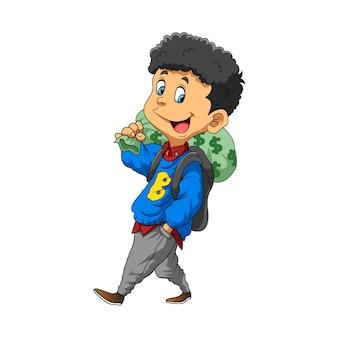 お金の袋を肩に抱えたカジュアルな服装の若い男のイラスト