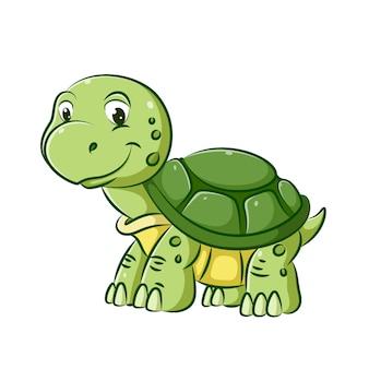緑の甲羅を持つ若いカメのイラストは、彼の顔に大きな笑顔で歩いています