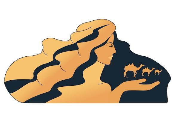 사막의 이미지입니다. 낙타와 소녀입니다. 멀리 낙타의 캐러밴. 벡터 일러스트 레이 션.
