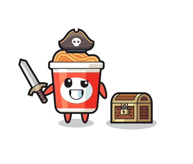 宝箱の横に剣を持ったインスタントラーメンの海賊キャラクター、tシャツ、ステッカー、ロゴ要素のかわいいスタイルのデザイン