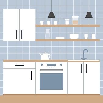 인테리어 흰색 주방 미니멀리스트 스칸디나비아 스타일의 평면 그림