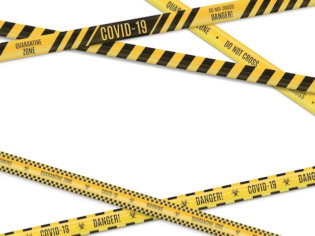白い背景に黒い帯警告フェンシングテープで交差する黄色。生物学的危険。