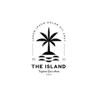 Остров и пальмовый пляж силуэт отпуск праздник путешествия дизайн логотипа