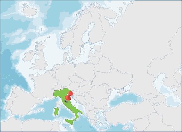 ヨーロッパ地図上のイタリア共和国の場所