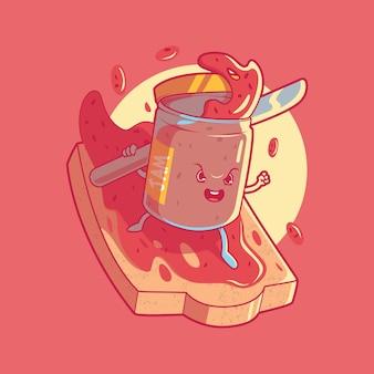 Концепция дизайна еды для завтрака jam illustration
