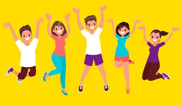 삶의 기쁨. 행복한 사람들이 점프합니다.