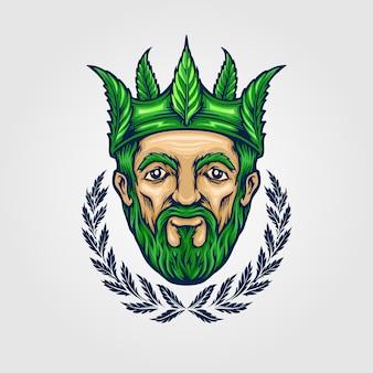 王冠の王大麻ロゴマスコットイラスト