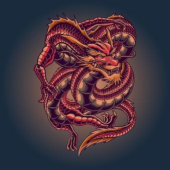 Король красный дракон иллюстрация Premium векторы