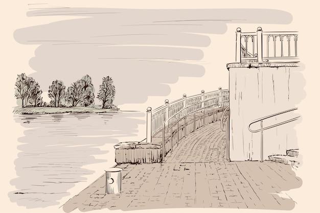 観光船の堤防の風景。ベージュの背景に手作りのスケッチ。