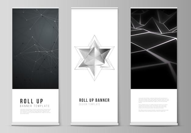 ロールアップバナースタンド、垂直チラシ、旗のデザインビジネステンプレートのレイアウト。 3 dの多角形の幾何学的なモダンなデザインの抽象的な背景。科学や技術のイラスト。