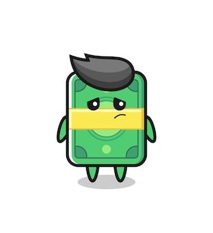 お金の漫画のキャラクターの怠惰なジェスチャー、tシャツ、ステッカー、ロゴ要素のかわいいスタイルのデザイン