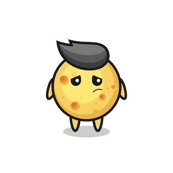 丸いチーズの漫画のキャラクターの怠惰なジェスチャー、tシャツ、ステッカー、ロゴ要素のかわいいスタイルのデザイン