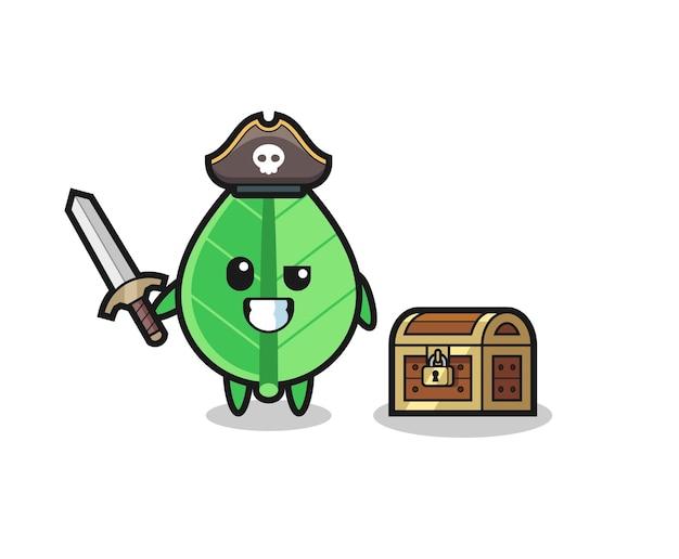 宝箱の横に剣を持っている葉の海賊キャラクター、tシャツ、ステッカー、ロゴ要素のかわいいスタイルのデザイン