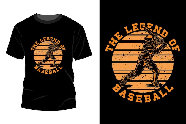 Легенда о бейсболе дизайн макета футболки винтаж ретро