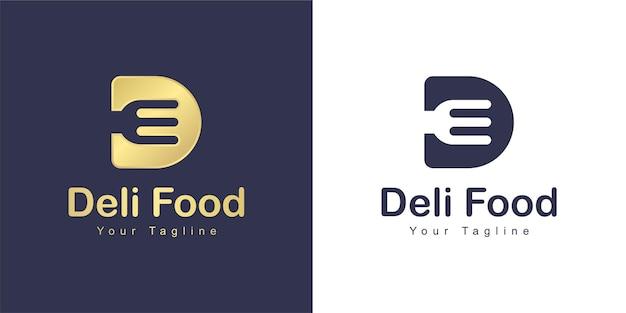 Буква d логотип имеет концепцию ресторана