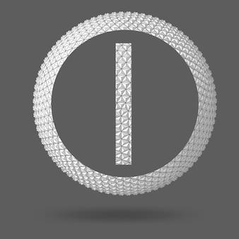 Буква i. многоугольная буква. абстрактный фон вектор творческой концепции. векторная иллюстрация eps 10 для вашего дизайна.