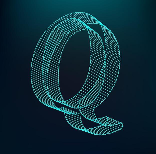 文字q.多角形の文字。低ポリモデル。立体メッシュ。ボリュームメッシュ文字。