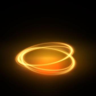 明るい抽象的な金の線は、効果で空です