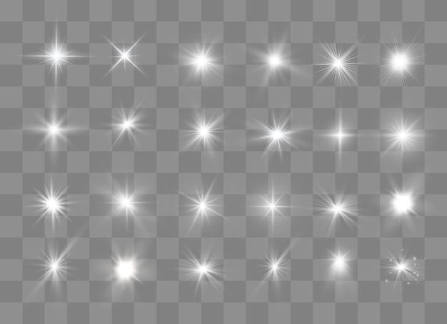 Свет звезды. звездное свечение на прозрачном взрывается на прозрачном. белый свет. сверкающие частицы волшебной пыли. яркая звезда. прозрачное сияющее солнце.
