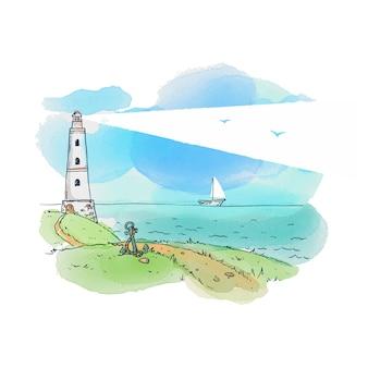 灯台と海。