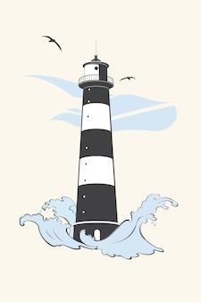 波とカモメの灯台。