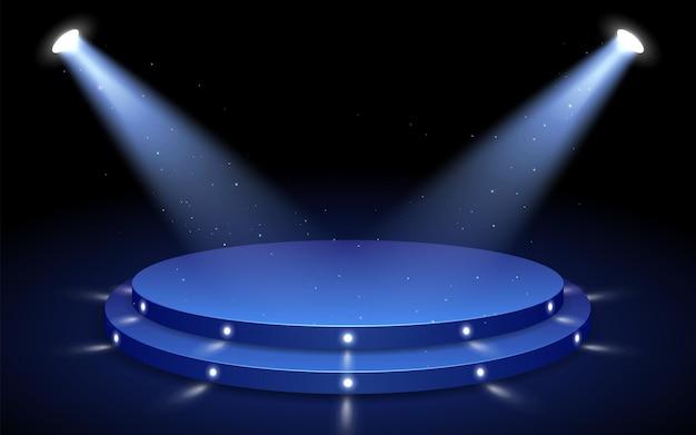 ライトは円形のステージ、お祝いの背景デザインに向けられています。