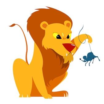 사자와 쥐 이야기 vectoral 일러스트