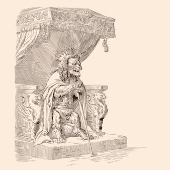Король лев в короне с посохом в лапах и плащом на плечах восседает на троне.