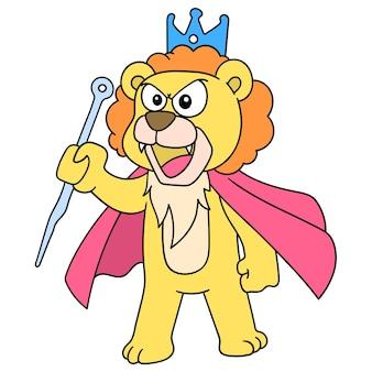 왕관을 쓴 라이온킹은 화난 연설을 하고 있었고, 캐릭터는 귀여운 낙서를 그렸습니다. 벡터 일러스트 레이 션