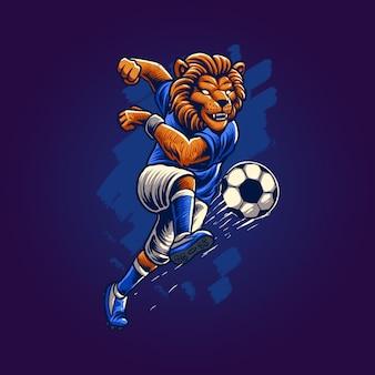 サッカーのイラストを遊んでいるライオン