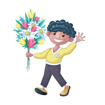 小さな黒い縮毛の少年は花の束を運びます。