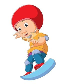 小さな男の子はイラストのスケートボードを遊んでいます