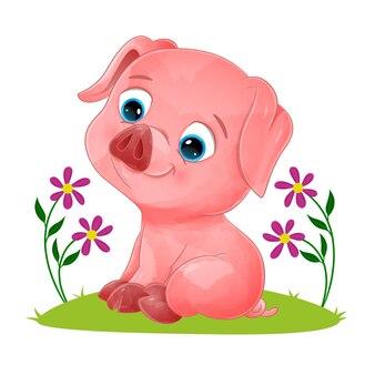 Маленькая цветная свинья сидит и улыбается в саду иллюстраций