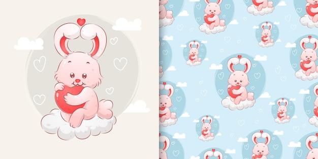 Маленький милый кролик с ушками любви, держащий в руке маленькое сердечко в наборе шаблонов иллюстраций