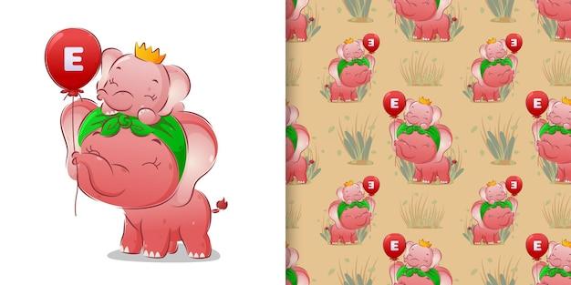 Слоненок с короной сидит на голове своей матери и держит воздушные шары иллюстрации