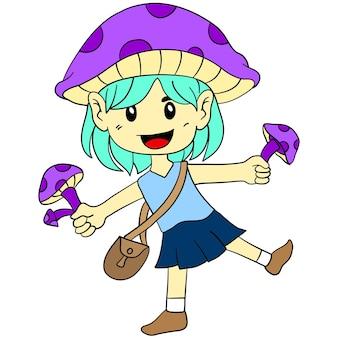 어린 소녀는 버섯을 들고 있습니다. 만화 그림 귀여운 스티커