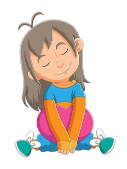어린 소녀는 삽화의 앉은 자세에서 자고 있다