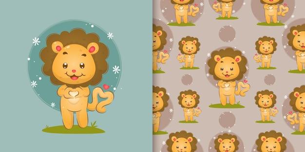 イラストの手で愛のサインを与える愛に満ちた小さなライオン