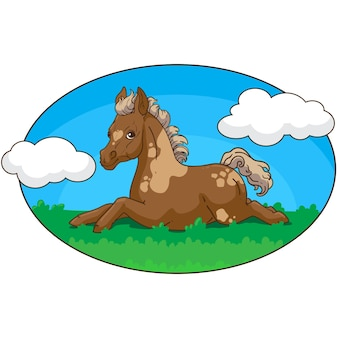 작은 조랑말이 쉬고 있습니다. 작은 말. 어린이 벡터 책 그림입니다.