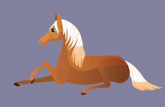 Маленькая пони легла отдыхать. иллюстрация для детей. изолированные плоские векторные иллюстрации.