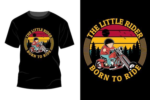 Tシャツのモックアップデザインのヴィンテージレトロに乗るために生まれた小さなライダー
