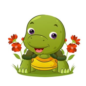 Маленькая черепаха ползет и радостно смотрит на сад иллюстраций.