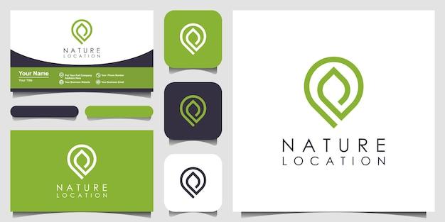 ロケーションピンのロゴデザインは、自然の葉と組み合わされています。スタイルラインアートミニマリストと名刺デザインのロゴ