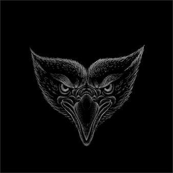 タトゥーやtシャツのデザインや上着のロゴイーグル。ハンティングスタイルのワシの背景。この手描きは黒い布または帆布用です。