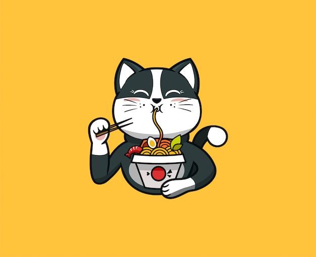 ロゴの面白い猫が麺を食べる。食品のロゴタイプ