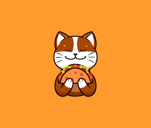 Логотип забавный кот ест тако. симпатичное животное, мультипликационный персонаж, еда логотип
