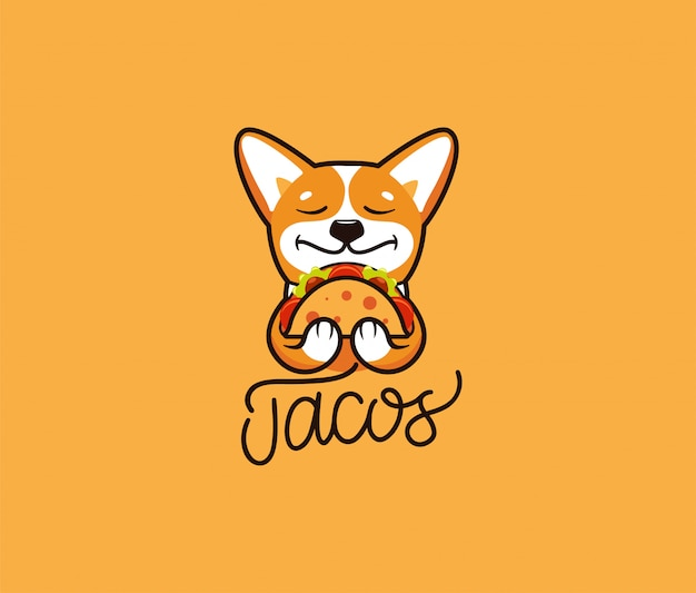 Логотип смешной корги ест тако. милая собака, мультипликационный персонаж, еда логотип