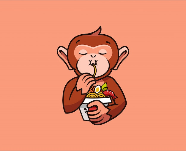 おかしい猿のロゴは麺を食べる。フードのロゴタイプ、かわいい動物のサル