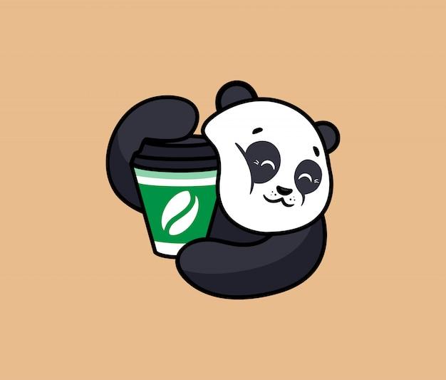 コーヒーとロゴの面白いパンダ。食品ロゴタイプ、かわいい動物