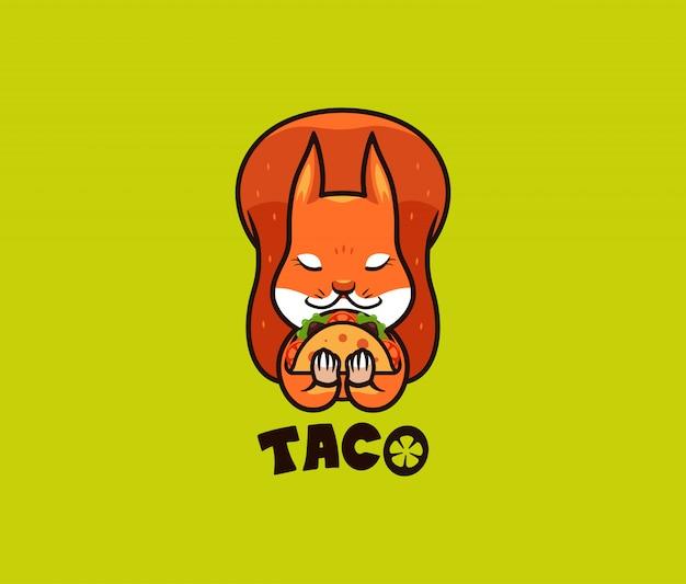 В логотипе смешная белка ест тако. милый дикий зверь, мультипликационный персонаж Premium векторы